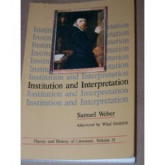 9780816612925: Institution and Interpretation (Theory and History of Literature, Vol 31)