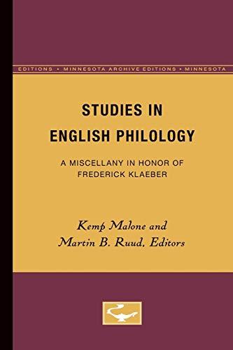 Studies in English Philology: Kemp Malone (editor),