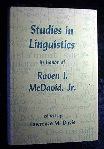 9780817300104: Studies in Linguistics in Honor of Raven I.McDavid, Jr.