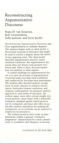 Reconstructing Argumentative Discourse.: Eemeren, F.H. van & Rob Grootendorst (eds.)