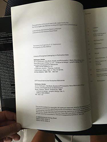 9780817623395: Armin Hofmann: His Work, Quest and Philosophy