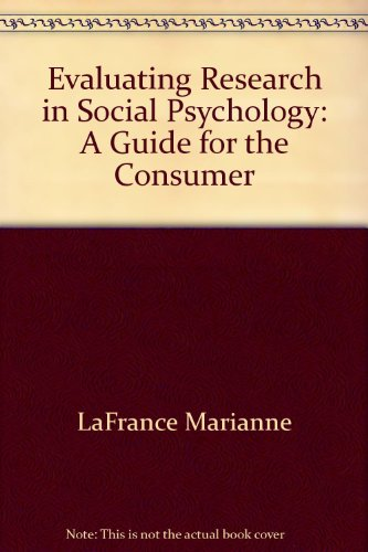 9780818502149: Evaluating research in social psychology: A guide for the consumer