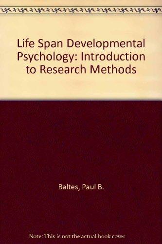 9780818502323: Life-span developmental psychology: Introduction to research methods (Life-span human development series)