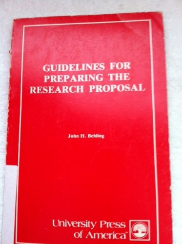 9780819104991: Guidelines for Preparing the Research Proposal
