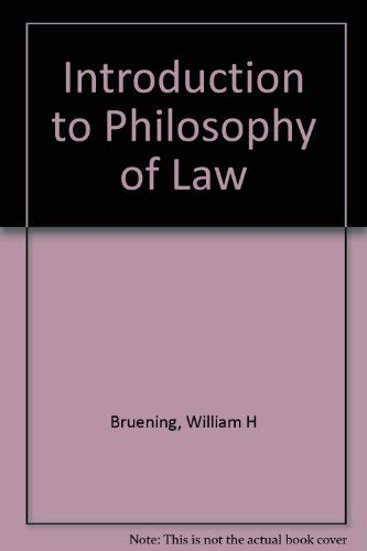 9780819105707: Introduction to Philosophy of Law