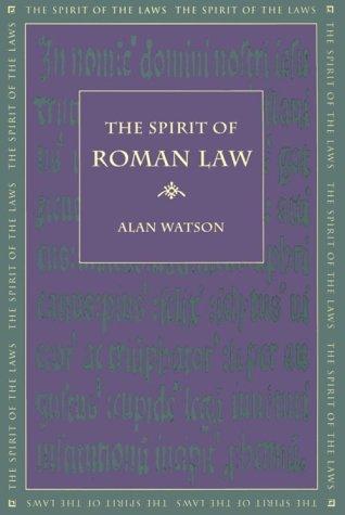 9780820316697: The Spirit of Roman Law (Spirit of the Laws)