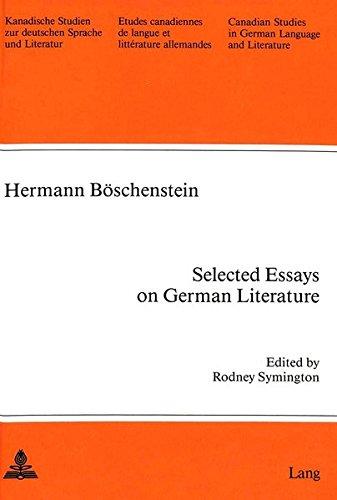 selected essays on german literature edited by  9780820403267 selected essays on german literature edited by rodney symington kanadische studien zur