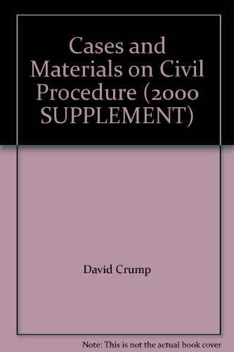 9780820547060: Cases and Materials on Civil Procedure (2000 SUPPLEMENT)