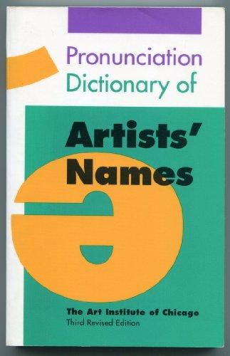 9780821220252: Pronunciation Dictionary of Artists' Names