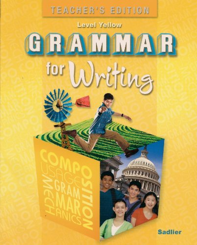 9780821502280: Grammar for Writing, Level Yellow, Teacher's Edition