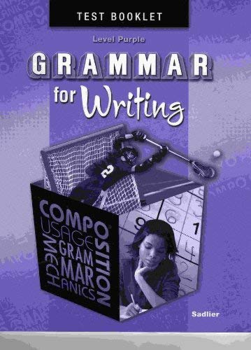 9780821502372: Grammar for Writing, Level PURPLE, Student Test Booklet (Grade 7)