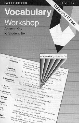 Vocabulary Workshop: Level B, Answer Key to Student Ext, Enhanced Edition: Multiple