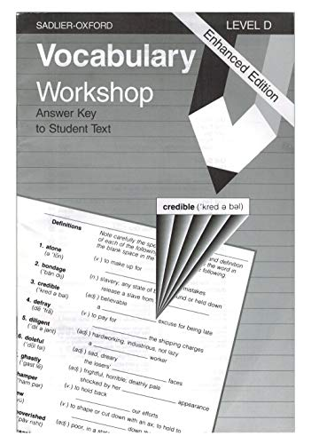 9780821506196: Vocabulary Workshop: Level D, Answer Key to Student Text, Enhanced Edition