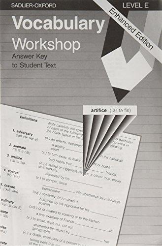 9780821506202: Vocabulary Workshop: Level E, Answer Key to Student Text, Enhanced Edition