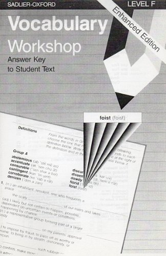9780821506219: Vocabulary Workshop: Level F, Answer Key to Student Text, Enhanced Edition