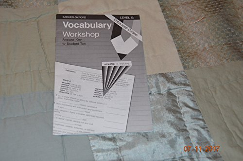 9780821506226: Vocabulary Workshop: Level G, Answer Key to Student Text, Enhanced Edition