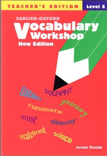 Jerome Shostak Vocabulary Workshop Teachers Edition Level