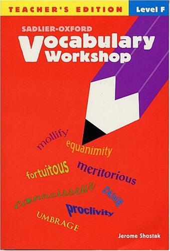 Vocabulary Workshop Level F 11th Grade Teacher Edition (9780821576212) by Shostak