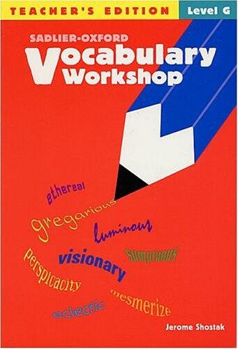 9780821576229: Vocabulary Workshop, Level G Teacher Edition