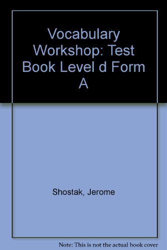 9780821576298: Vocabulary Workshop: Test Book, Level D, Form A