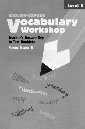 9780821576700: Vocabulary Workshop: Teacher's Answer Key to Test Booklets Form A and B (Level E)