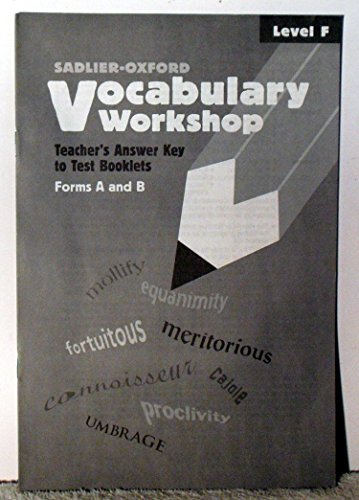 9780821576717: Vocabulary Workshop: Teacher's Answer Key to Test Booklets Form A and B (Level F)