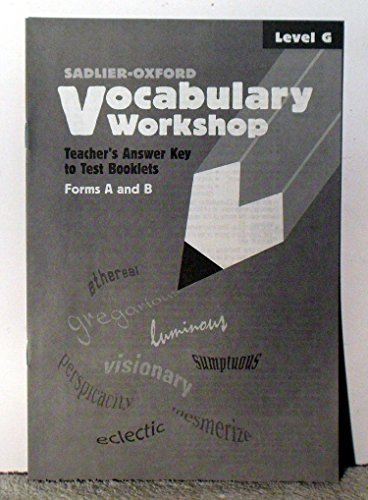 9780821576724: Vocabulary Workshop: Teacher's Answer Key to Test Booklets Form A and B (Level G)