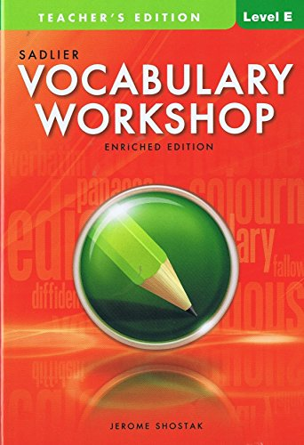 Vocabulary Woorkshop,Teacher's Edition Level E Grade 10 (Enriched Edition): Shostak, Jerome