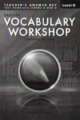 9780821581179: VOCABULARY WORKSHOP ENRICHED EDITION@2013 ANSWER KEY TO TEST BOOKLET: FORM A&B LEVEL B (GRADE 7)