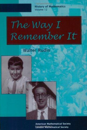 9780821806333: The Way I Remember It (History of Mathematics)