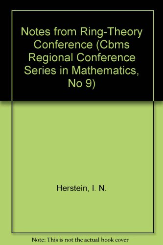 9780821816585: Notes from Ring-Theory Conference (Cbms Regional Conference Series in Mathematics, No 9)