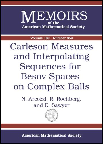 9780821839171: Carleson Measures and Interpolating Sequences for Besov Spaces on Complex Balls (Memoirs of the American Mathematical Society)