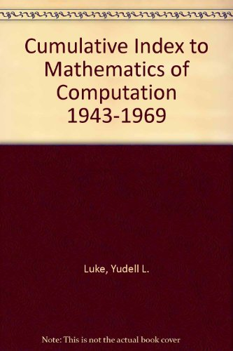 9780821840009: Cumulative Index to Mathematics of Computation 1943-1969