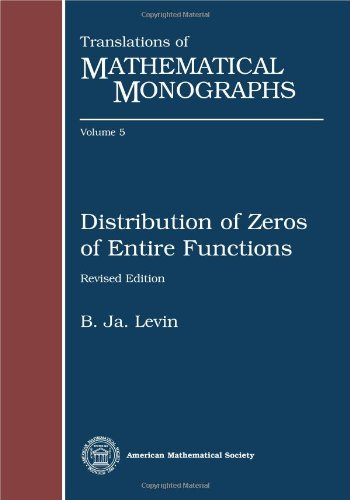 9780821845059: Distribution of Zeros of Entire Functions (Translations of Mathematical Monographs) (English and Russian Edition)