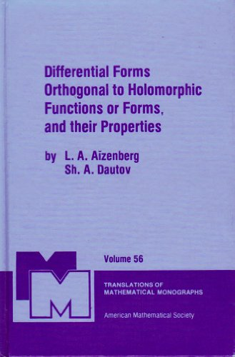 9780821845080: Differential Forms Orthogonal to Holomorphic Functions or Forms, and Their Properties (Translations of Mathematical Monographs) (English and Russian Edition)