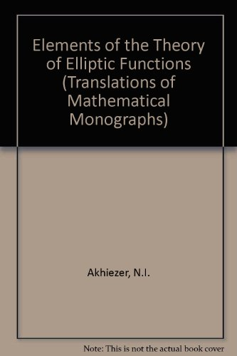 9780821845325: Elements of the Theory of Elliptic Functions (Translations of Mathematical Monographs)