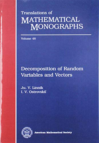 9780821846469: Decomposition of Random Variables and Vectors (Translations of Mathematical Monographs)