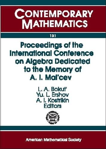 9780821851340: Proceedings of the International Conference on Algebra: Dedicated to the Memory of A. I. Mal'cev: Set of three volumes: Pts. 1-3 (Contemporary Mathematics)