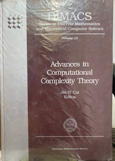 9780821865972: Advances in Computational Complexity Theory (Dimacs Series in Discrete Mathematics and Theoretical Computer Science)