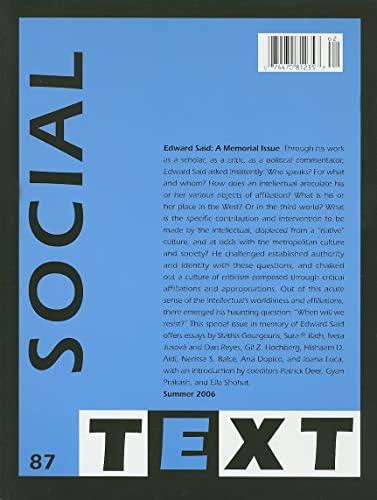 9780822366553: Edward Said: A Memorial Issue (Social Text)