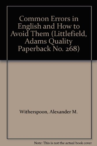 9780822602682: Common Errors in English and How to Avoid Them (Littlefield, Adams Quality Paperback No. 268)