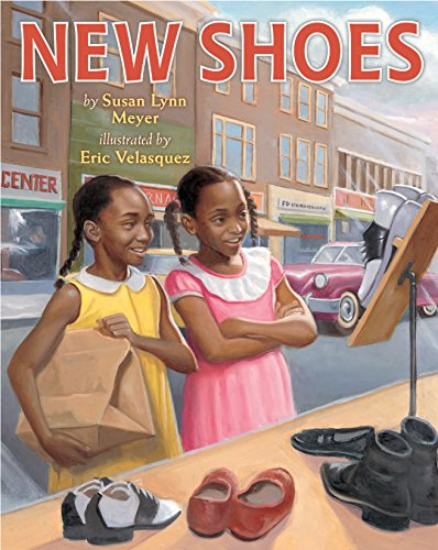 New Shoes 9780823435739 When her brother's hand-me-down shoes don't fit, it is time for Ella Mae to get new ones. She is ecstatic, but when she and her mother arrive at Mr. Johnson's shoe store, her happiness quickly turns to dejection. Ella Mae is forced to wait when a customer arrives after her and is served first. Ella Mae is unable even to try on the shoes because of her skin color. Determined to fight back, Ella Mae and her friend Charlotte work tirelessly to collect and restore old shoes, wiping, washing, and polishing them to perfection. The girls then have their very own shoe sale, giving the other African American members of their community a place to buy shoes where they can betreated fairly and  try on all the shoes they want.  Set in the South during the time of segregation, this stunning picture book brings the civil rights era to life for contemporary readers.
