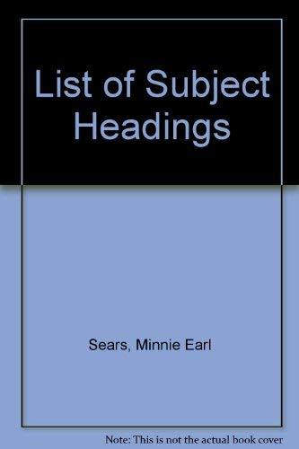 9780824207304: List of Subject Headings