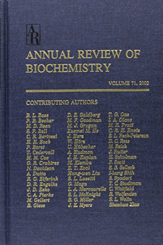 Annual Review of Biochemistry: Volume 71, 2002