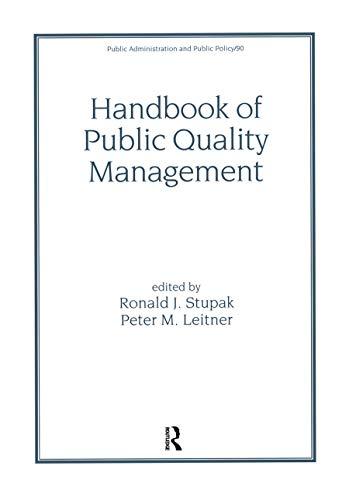 Handbook of Public Quality Management.: Stupak, Ronald J.