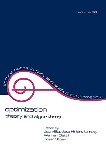 9780824770198: Optimization: Theory and Algorithms (Lecture Notes in Pure and Applied Mathematics)