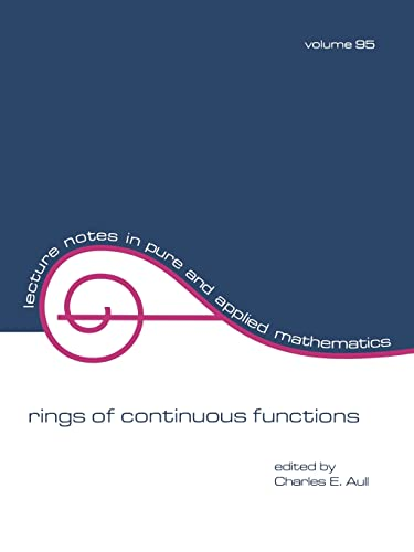 Rings of Continuous Function (Lecture Notes in: Aull