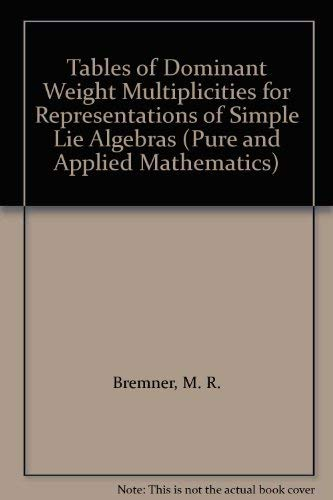 9780824772703: Tables of Dominant Weight Multiplicities for Representations of Simple Lie Algebras (Pure & Applied Mathematics)