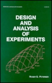 9780824773403: Design and Analysis of Experiments (Statistics: A Series of Textbooks and Monographs)