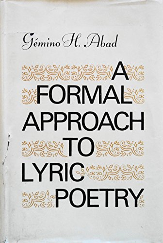 9780824806323: A Formal Approach to Lyric Poetry